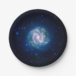 Plato De Papel Galaxia espiral azul del molinillo de viento del