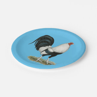 Plato De Papel Gallo de pelea de plata de Duckwing