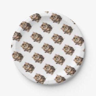 Plato De Papel gama del diseño del fractal del gatito