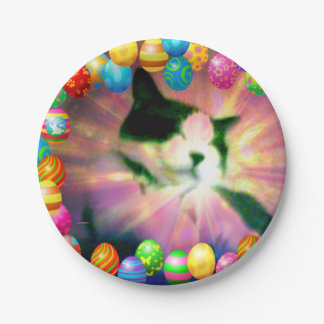 Plato De Papel Gatito feliz de Pascua de la raqueta