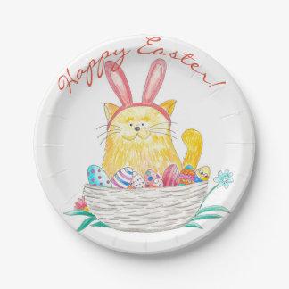 Plato De Papel Gatito //Pascua feliz de Pascua