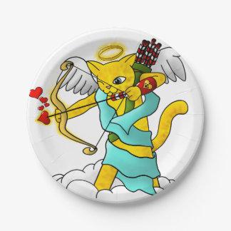 Plato De Papel Gato del Cupid del amarillo del jengibre del el