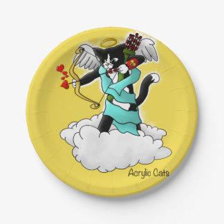 Plato De Papel Gato del Cupid del smoking del el día de San