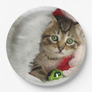 Plato De Papel Gato del navidad - gato del gatito - gatos lindos