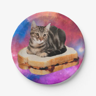 Plato De Papel gato del pan - gato del espacio - gatos en espacio