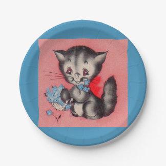 Plato De Papel gato dulce del gatito