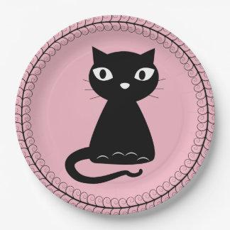 Plato De Papel Gato negro con la cola encrespada