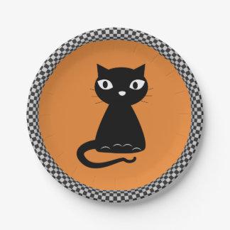 Plato De Papel Gato negro con la cola encrespada Halloween