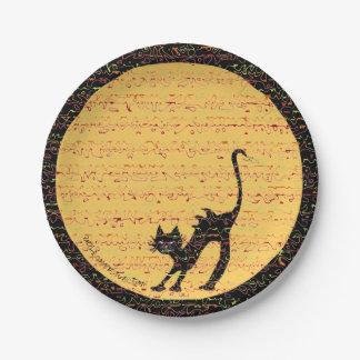 Plato De Papel Gato negro de arqueamiento y Luna Llena festivos