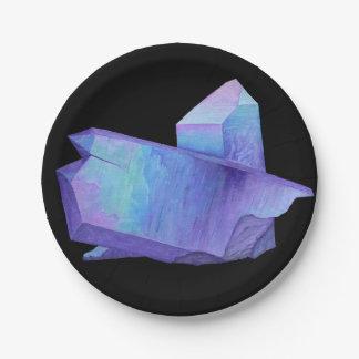 Plato De Papel Geode cristalino púrpura Amethyst del cuarzo de la