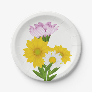 Plato De Papel Girasol amarillo floral, flores de la púrpura de