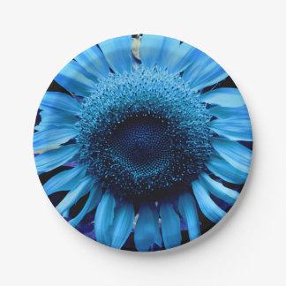 Plato De Papel Girasol azul
