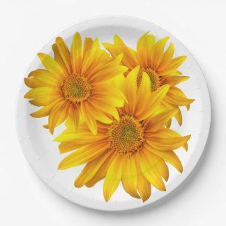 Plato De Papel Girasoles amarillos florales - el boda/el fiesta