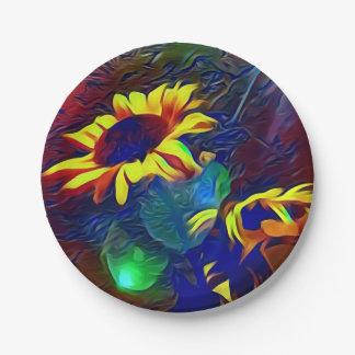Plato De Papel Girasoles artísticos vibrantes bonitos