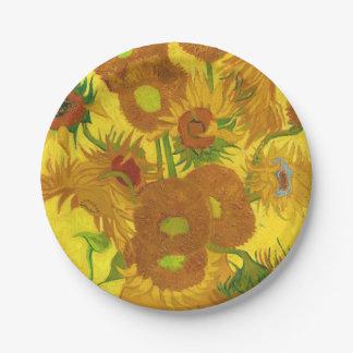 Plato De Papel Girasoles de Van Gogh quince en una bella arte del