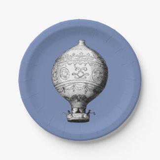 Plato De Papel Globo del aire caliente del vintage de Montgolfier
