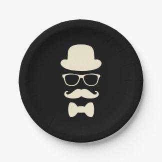 Plato De Papel Gorra del bigote y placas de papel del disfraz de