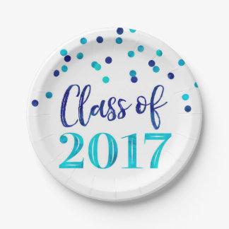 Plato De Papel Graduación azul 2017 del confeti de la acuarela