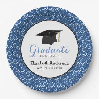 Plato De Papel Graduación azul y blanca, personalizada