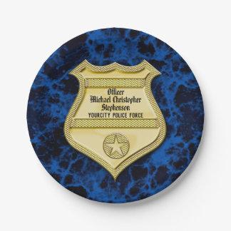 Plato De Papel Graduación de la policía de la insignia/fiesta de