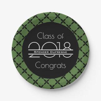 Plato De Papel Graduación elegante, fresca y verde