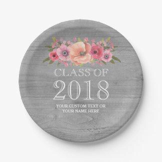 Plato De Papel Graduación floral 2018 de la acuarela rosada de
