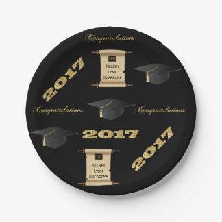 Plato De Papel Graduación personalizada 2017 de la voluta