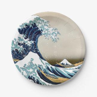 Plato De Papel Gran onda restaurada de Kanagawa por Hokusai