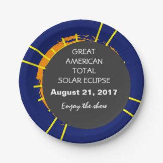Plato De Papel Gran personalizable total americano del eclipse