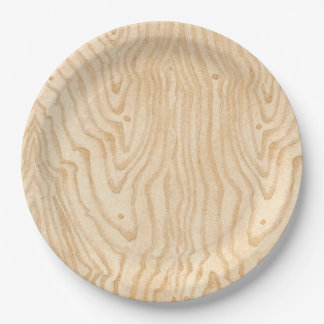 Plato De Papel Grano de madera