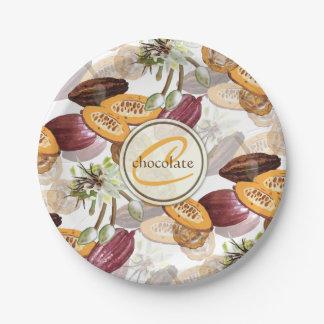 Plato De Papel Granos de cacao, flores del chocolate, los regalos