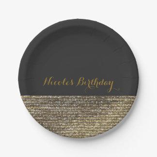 Plato De Papel Gris y placa elegante elegante de las lentejuelas