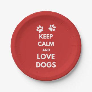 Plato De Papel Guarde la calma y ame los perros