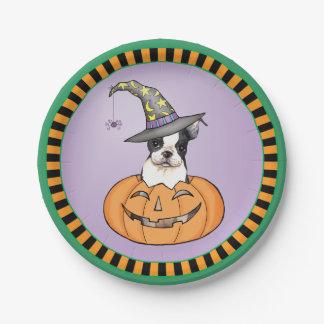 Plato De Papel Halloween Boston Terrier