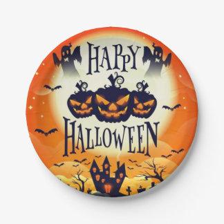 Plato De Papel Halloween frecuentado feliz