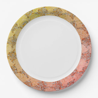 Plato De Papel Hand-Painted_China-Golden-Sea-glass-Fabric-Print