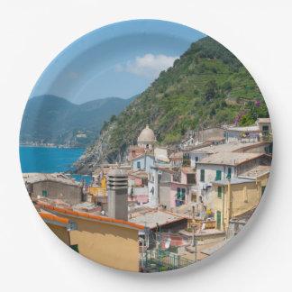 Plato De Papel Hogares coloridos en Cinque Terre Italia