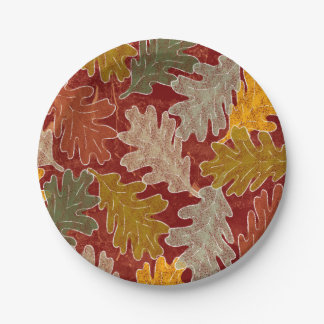 Plato De Papel Hojas del roble del otoño
