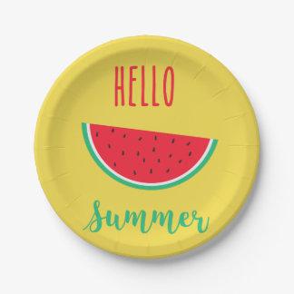 Plato De Papel Hola verano - sandía