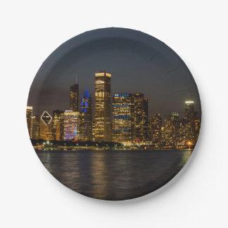 Plato De Papel Horizonte Chicago Pano de la noche