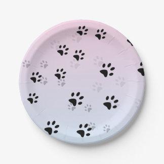 Plato De Papel Huellas frescas rosa y azul de los gatos
