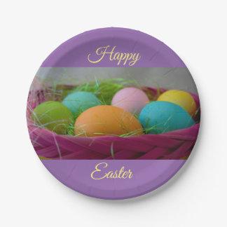 Plato De Papel Huevos de Pascua coloridos
