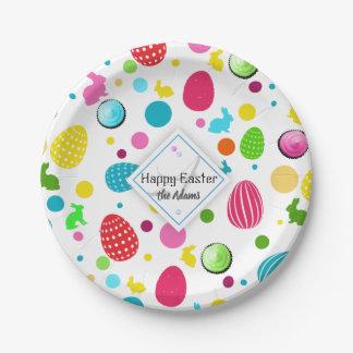 Plato De Papel Huevos de Pascua coloridos, conejitos, monograma