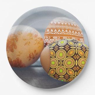 Plato De Papel Huevos de Pascua pintados rústicos