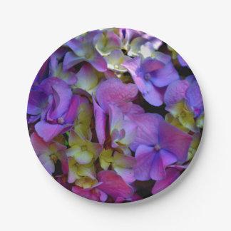 Plato De Papel Hydrangeas púrpuras románticos