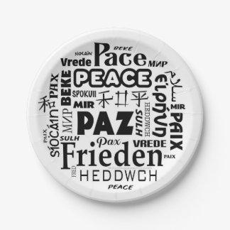 Plato De Papel idiomas de la paz de la placa de papel de 7