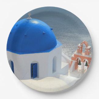 Plato De Papel Iglesia de Santorini por la tarde Sun