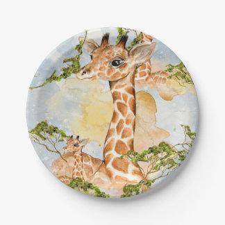 Plato De Papel Imagen animal del retrato de la jirafa