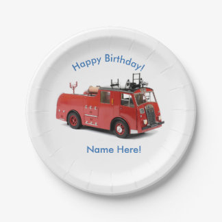 Plato De Papel Imagen del coche de bomberos para las placas de