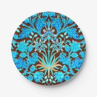 Plato De Papel Impresión, aguamarina y Brown del jacinto de